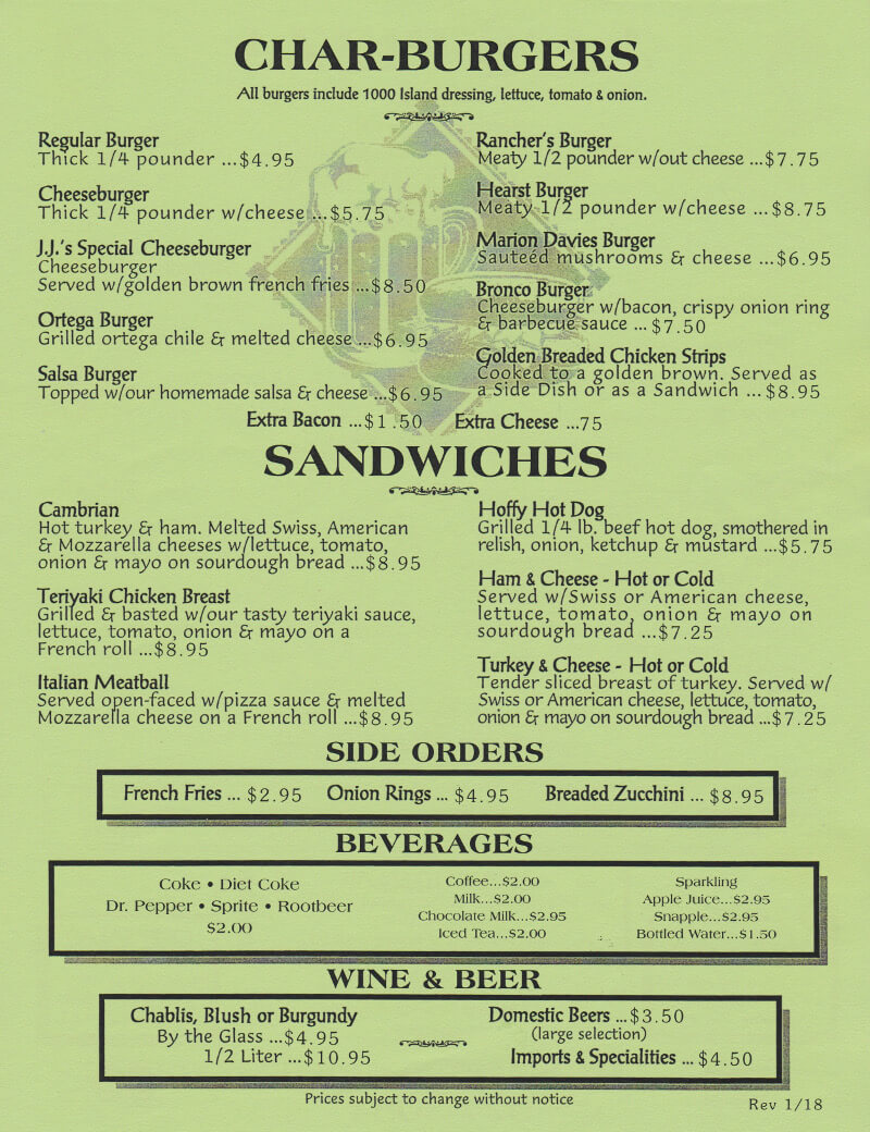 Menu - Burgers and Sandwiches
